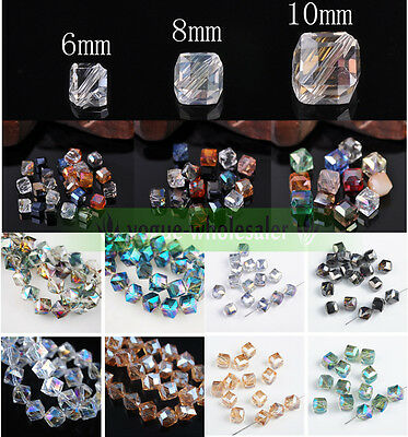 6/8/10mm Faceted Square Cube Diagonal Glass Crystal Loose Spacer Beads Finding