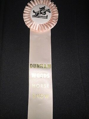 Vintage Pink Horse Show Ribbon Dunham Woods Award Equestrian Win Place Medal