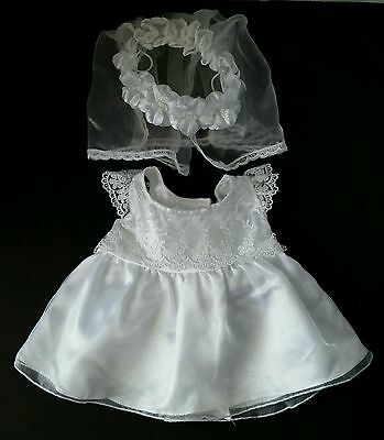 build a bear white wedding dress flowered bodice detachable train