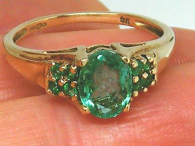 9ct Gold 9K Gold Emerald  Hallmarked ring size O