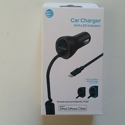 New AT&T 3.4A REAL MFI Lightning Car Charger w' LED,  iPhone X SE 5 5S 6 6S 7 8