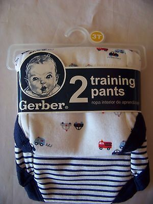 New Gerber 2 Training pants Sz. 3T Blue/White Color 100% Cotton
