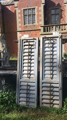 Pair Rare Antique 19th Century French Louvre Architectural Pine Window Shutters
