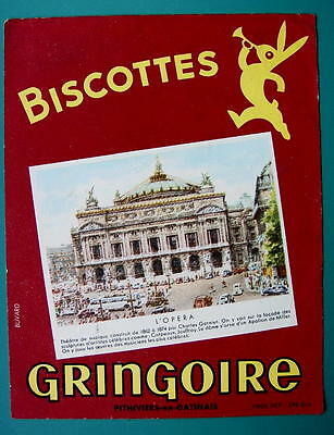 INK BLOTTER French AD: 1955 Biscottes Gringoire Wafer Biscuits Paris Opera House