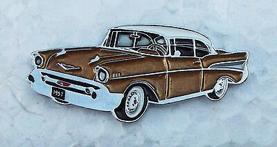 CHEVROLET BELAIR, 1957, LAPEL PIN BADGE, 40x17mm. BUTTERFLY PIN FIXING.