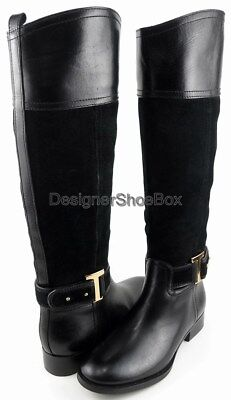 TORY BURCH TENLEY Black Leather Suede Combo Designer Fashion Riding Boots 5