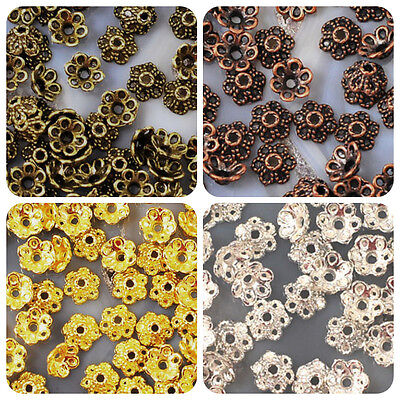 6mm Bead Flower Cap 100pc Copper Gold Silver Jewelry Findings Free Shipping