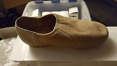 NIB Theatricals Footwear Tan Beige Jazz Shoe Dance Size 5 Arch Slip-On