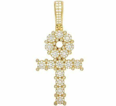 14K Yellow Gold Genuine Diamond Egyptian Cluster Ankh Cross Pendant 1 3/4 Ct 2""