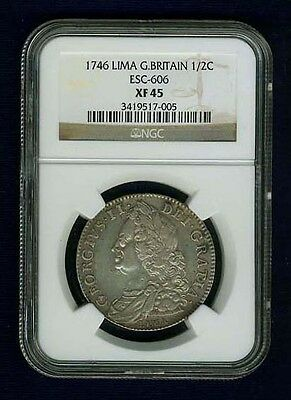 Great Britain  George Ii  1746-Lima  1/2 Crown,  Certified Ngc  Xf45
