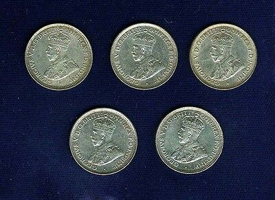Australia George V 1928  6 Pence Silver Coins, Lot Of (5), Grades: Mostly Xf