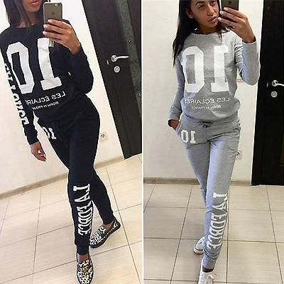 Womens Tracksuit 2Pcs Sweatshirt Top Pants Jogging Sports Wear Casual Sweat Suit