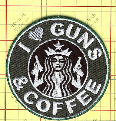 GUNS and Coffee patch glue/ hook/loop starbucks tactical military morale I love