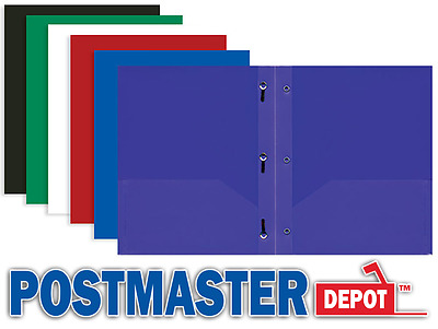 One Poly Plastic Two-Pocket Folder, Assorted Colors, Three-Prong, Letter Size