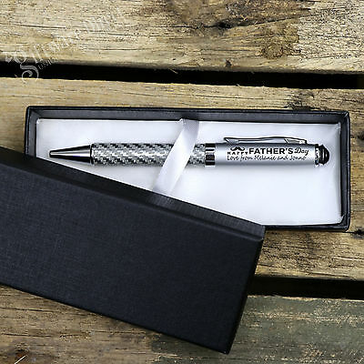 Deluxe Engraved Carbon Fiber Pen Set +Box. Personalised Fathers Day Gift for Dad