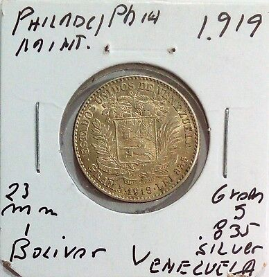 Venezuela Silver Coin Gram 5, 1 Bolivar 1919  high condition.... Km Y#22