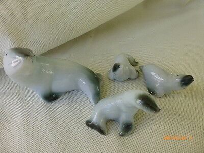 Vintage Seal Figurines Ceramic Family Momma Cubs Figures Decorations Lot of 4