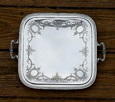 Homan Plate Nickel Silver SQUARE Serving TRAY with Handles