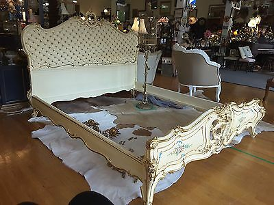 Romantic Antique Hand Painted Italian Venetian Curvy Roses Bed Gilded Tufting