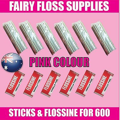 FAIRY FLOSS STICKS & PINK FLOSSINE 600 KIT Suit all floss machines cotton candy