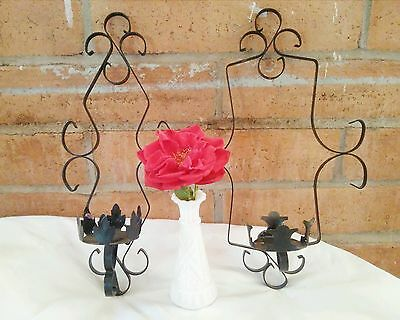 2 Vintage Black Wrought Iron decorative Wall Sconce pillar Candle Holders 16""