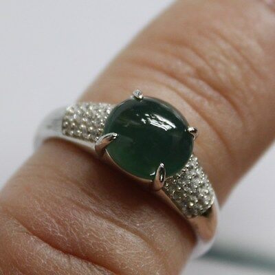 Size 6 ** CERTIFIED Natural (A) Oily Green Jadeite JADE 925 Silver Ring #S002