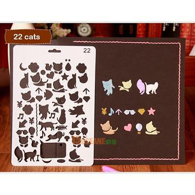 Hollow Cute Cat Drawing Template Ruler Stencil Tool Stationery Kid DIY Craft Toy