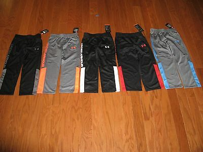 Under Armour Boys Athletic Black Or Graphite Pants  With Stripes 4/5/6/7 Nwt