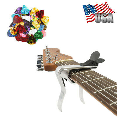 Quick Change Acoustic Electric Guitar Capo Trigger with Pick Holder + 30 Picks