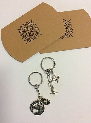 Key ring set 2 x country charms hat boot and horse medallion kraft pillow boxes