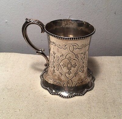 Robert Harper Antique English Victorian Sterling Silver Ornate Mug Cup 1859