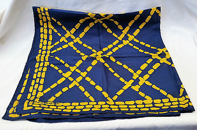 Vintage Christian Paris Silk Scarf Blue & Yellow