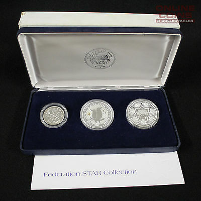 2001 Perth Mint Federation Star Collection Silver Proof Three Coin Set