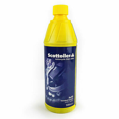 Scottoiler Motorcycle Chain System Refill Blue Oil 500 ml Top Up inc Spout
