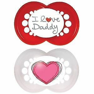 MAM Style - I Love Daddy Soother 2 Pack 6m+ (Red/White)
