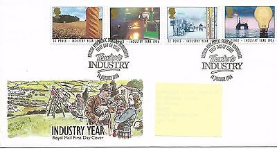 GB - FIRST DAY COVER - FDC - COMMEMS -1986- INDUSTRY YEAR -  Pmk PB