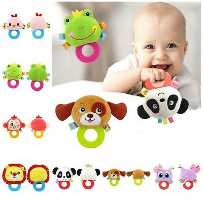 Baby Rattle Cartoon Animal Doll Bell Soft Plush Toy With Teether Infant Pacifier