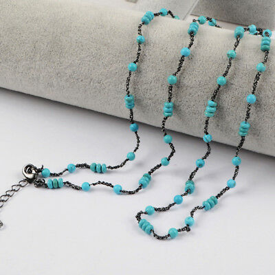 "5Pcs 32"" 4mm Blue Howlite Turquoise Beads Long Chain Necklace DIY NEW HOT BWX569"