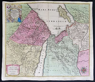 Holy Land, Egypt, Syria, Cyprus..map by M. Seutter (1734), Deserta Aegypti....