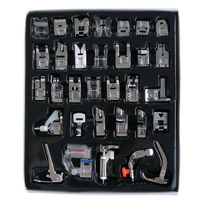 32Pcs Domestic Sewing Machine Presser Foot Feet Snap for Brother Janome Singer