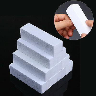 10 Pcs White Nail Art Buffers Grinding Blocking File Nail Treatment Tools Kits