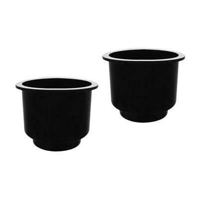 2x Recessed Black Boat Plastic Cup Drink Beverage Can Holder Marine Car RV