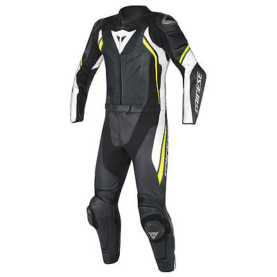 Dainese Avro D2 Black / White / Fluo Yellow Two Piece Leather Suit All Sizes