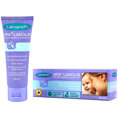 Lanolin Nipple Cream Sore Cracked Nipples Dry Sensitive Skin 40ml Lansinoh HPA