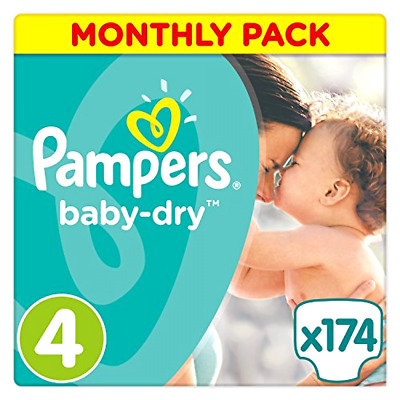Pampers Baby Dry Nappies Diapers Monthly Saving Pack - Size 4, Pack of 174