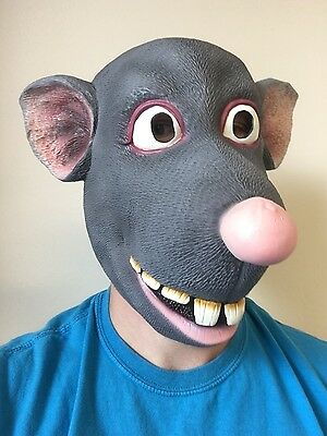 Funny Cartoon Rat Mask Mouse Roland Latex Fancy Dress Costume Ratatouille