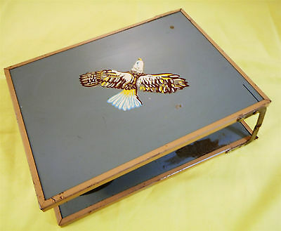 "Vintage Shaving Kit: Cup Brush Mirror Folding Case Bald Eagle - 8"" x 6"" x 2.5"""
