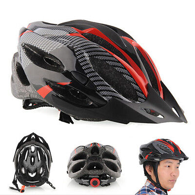 Cycling Bicycle Adult Mens Bike Helmet Red carbon color With Visor Mountainu0I
