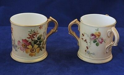 2 x ROYAL WORCESTER HAND PAINTED BLUSH IVORY FLOWERS MINIATURE CUP & TYG 1903/7