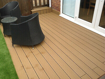 Composite Decking Boards 4m Length Hollow £18.96 Black, Teak, Grey or Coffee